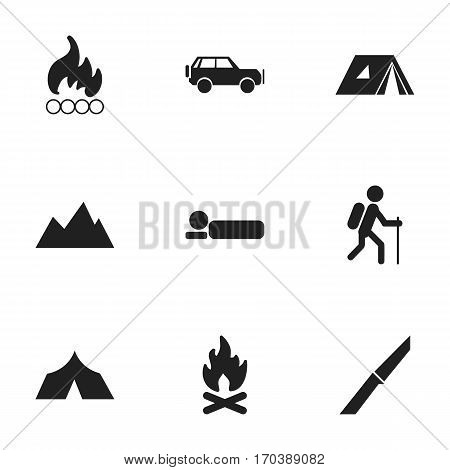 Set Of 9 Editable Camping Icons. Includes Symbols Such As Knife, Refuge, Bedroll And More. Can Be Used For Web, Mobile, UI And Infographic Design.