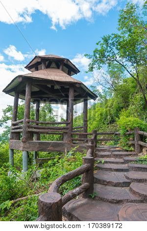 Walkway or walkpath with old pavilion in thailand