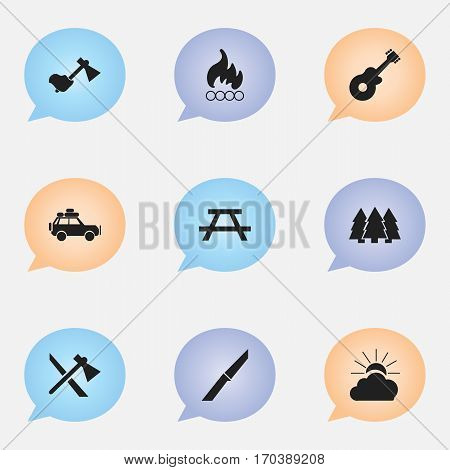 Set Of 9 Editable Trip Icons. Includes Symbols Such As Desk, Voyage Car, Blaze And More. Can Be Used For Web, Mobile, UI And Infographic Design.