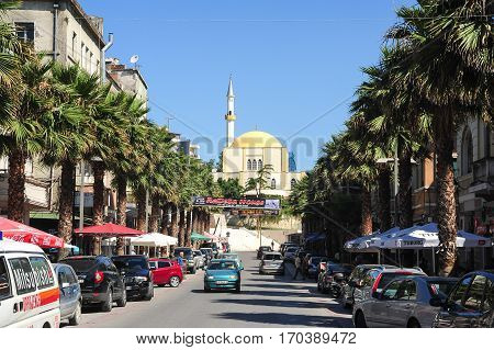 Duress, Albania - 25 January 2014: Street and mosque of Durres on Albania