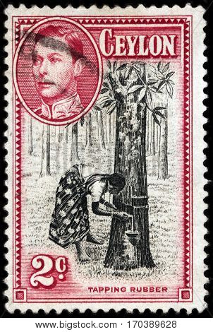 LUGA RUSSIA - FEBRUARY 7 2017: A stamp printed by CEYLON shows image portrait of King George VI against view of Tapping Rubber - process by which latex is collected from rubber tree circa 1938