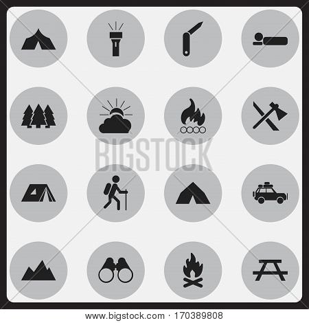 Set Of 16 Editable Trip Icons. Includes Symbols Such As Desk, Refuge, Bedroll And More. Can Be Used For Web, Mobile, UI And Infographic Design.