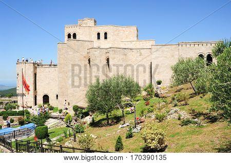 Tourists Visiting The Museum Skanderbeg Of Kruja