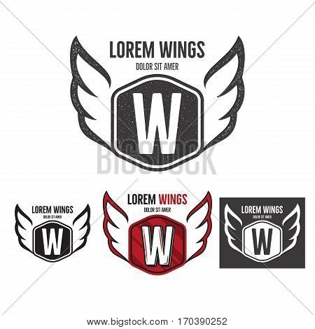 Modern wings shield template logo design. Monochrome, silhouette, color, retro rough versions. Vector design isolated on white background. For company logotype.