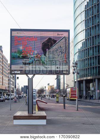BERLIN GERMANY - JANUARY 29 2017: Berlin International Film Festival Berlinale Advertisement At Potsdamer Platz Berlin