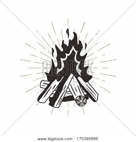 Hand drawn campfire illustration. Sunbursts included. Outdoor camping themed print for t-shirt, vector isolated on white background. Letterpress old style.