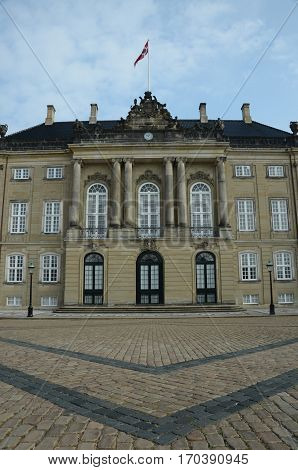 An external view of the palace in Amalienborg in Copenhagen
