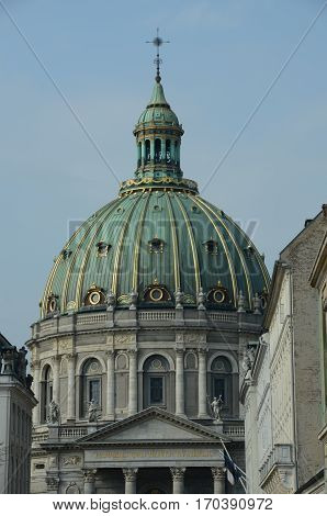 A view of the dome on a church in Copenhagen