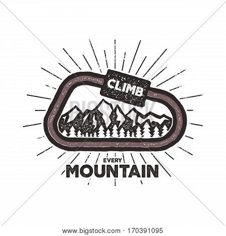Vector carabiner label. Vintage design with text and climbing symbols - mountains. Typography t-shirt print emblem isolated on white background. Letterpress effect.
