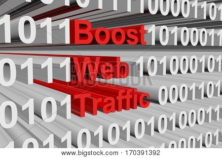 boost web traffic presented in the form of binary code 3d illustration