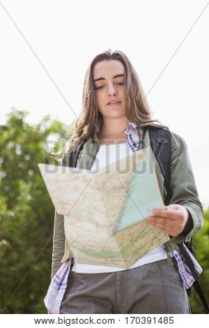 Woman checking the map in the countryside