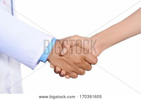 Doctor and patient shaking hand  isolated on white background