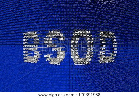 bsod in the form of binary code, 3D illustration