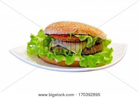 Delicious cheeseburger (the Burger) on the plate closeup isolated over white
