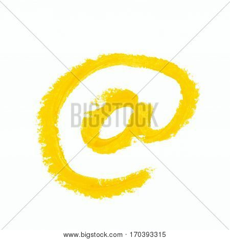 Yellow At mark internet symbol isolated over the white background