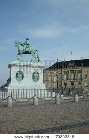 A view of the statue and palace at Amalienborg in Copenhagen