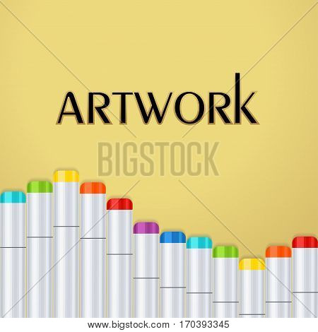 Frame, border a wave of art markers all colors of the rainbow on a gold background. For design postcard, banner, cover, flyer, poster, artwork image. Realistic vector illustration