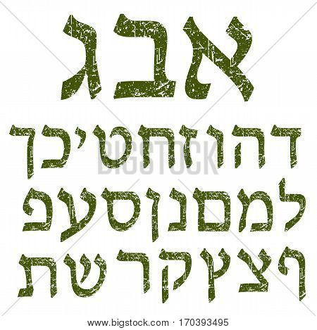 Green shabby Hebrew font. Shabby Hebrew alphabet. The letters Jewish language.