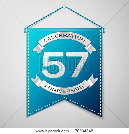 Blue pennant with inscription Fifty seven Years Anniversary Celebration Design over a grey background. Silver ribbon. Colorful template elements for your birthday party. Vector illustration