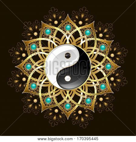 Jewelry with gold yin yang mandala decorated with turquoise on a black background. Jewelry Design. Oriental pattern. Boho Style.