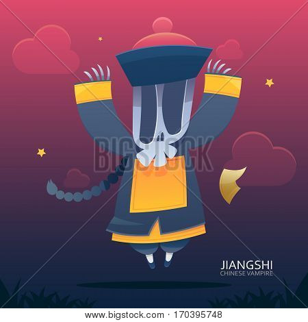 Jiangshi Chinese vampire on Red and Blue background