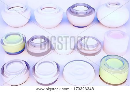 Lines of jars of face creams. The view from the top. 3D illustration