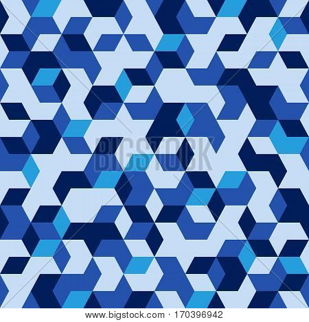 Military cubic blue camouflage print abstract background.