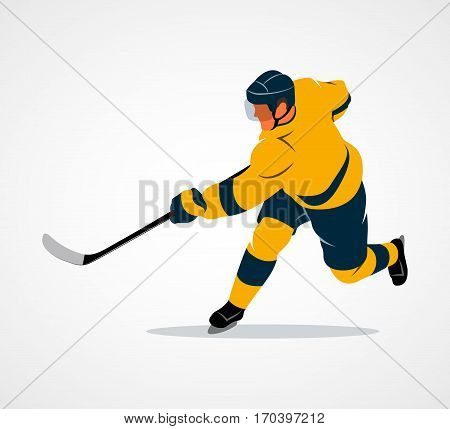 Abstract hockey player on a white background. Vector illustration.