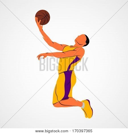 Abstract basketball player with ball on a white background. Vector illustration.