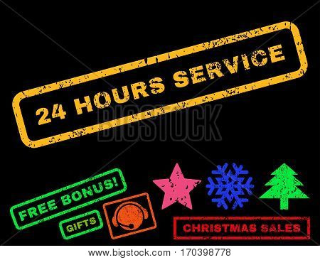 24 Hours Service text rubber seal stamp watermark with bonus new year symbols. Caption inside rectangular banner with grunge design and unclean texture.