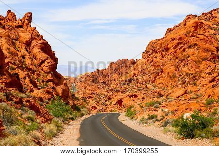 Mouses Tank Road in the Valley of Fire State Park in Nevada, USA