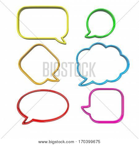 Colorful Empty and Blank 3D Comic Speech Bubbles Set Isolated on White Background