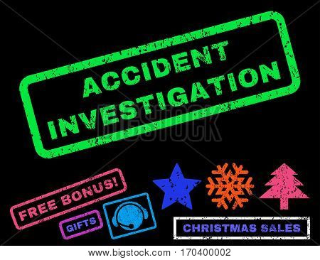 Accident Investigation text rubber seal stamp watermark with additional bonus new year symbols. Tag inside rectangular banner with grunge design and scratched texture.