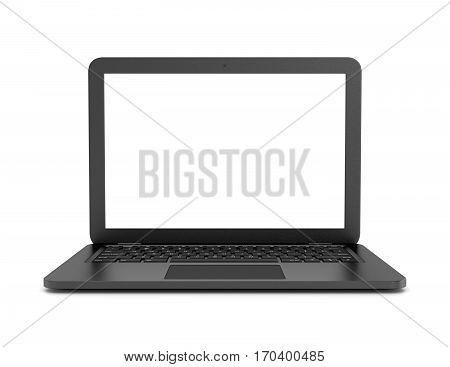 Black Laptop Computer On White Background