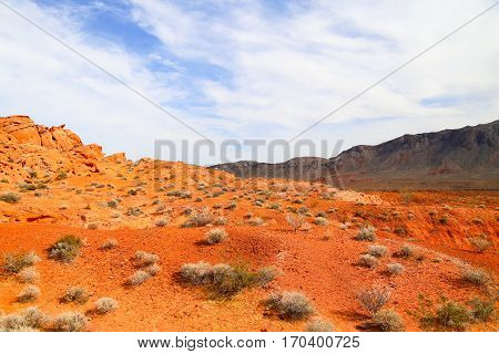 Orange Ground in the Valley of Fire State Park in Nevada, USA