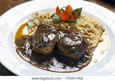 Filet mignon with risotto