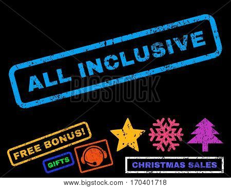 All Inclusive text rubber seal stamp watermark with bonus new year symbols. Tag inside rectangular shape with grunge design and unclean texture.