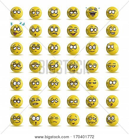 illustrations of variety expression of yellow smile icon avatar cartoon over isolated white background