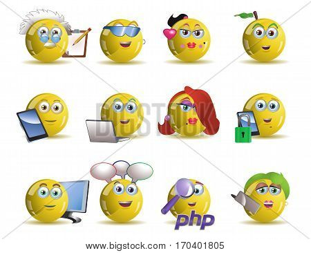 illustrations of variety social network yellow smile icon avatar cartoon over isolated white background