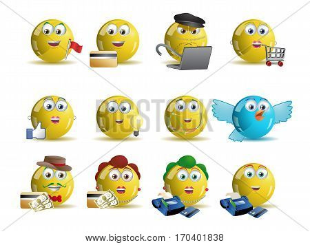 illustrations of variety shopping online yellow smile icon avatar cartoon over isolated white background