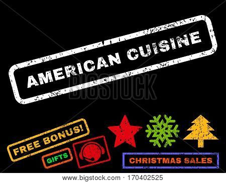 American Cuisine text rubber seal stamp watermark with additional bonus christmas symbols. Caption inside rectangular banner with grunge design and dirty texture.