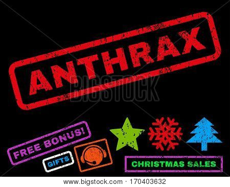 Anthrax text rubber seal stamp watermark with additional bonus christmas symbols. Tag inside rectangular shape with grunge design and dirty texture.