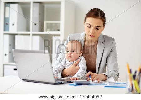 business, motherhood, multi-tasking, family and people concept - happy businesswoman with baby counting on calculator at office