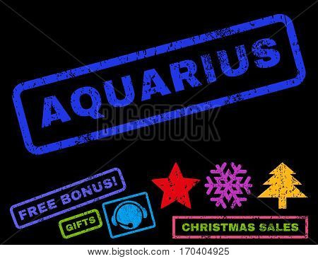 Aquarius text rubber seal stamp watermark with bonus christmas symbols. Caption inside rectangular shape with grunge design and unclean texture.