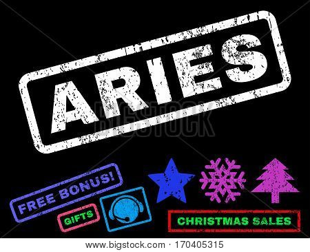 Aries text rubber seal stamp watermark with additional bonus new year symbols. Caption inside rectangular shape with grunge design and dust texture.