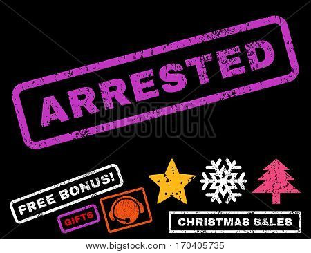 Arrested text rubber seal stamp watermark with additional bonus new year symbols. Caption inside rectangular banner with grunge design and dirty texture.