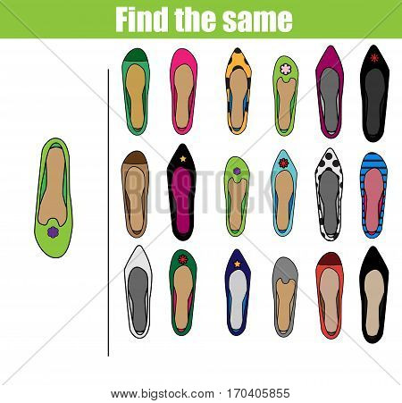 Find the same pictures children educational game. Find equal shoes kids activity