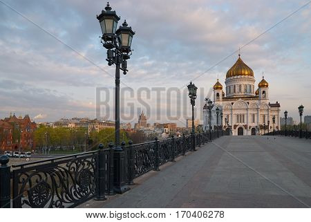 Cathedral of Christ the Saviour in Moscow in the morning. Photographer's position is Patriarshiy most (bridge).