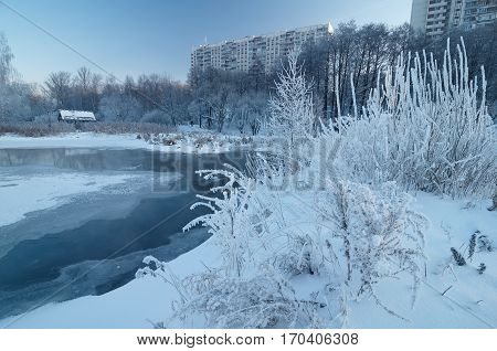 Blue morning on the Yauza river in Moscow