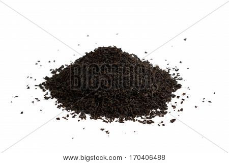 Heap of black tea isolated on white background